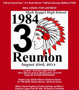 August 23rd, 2014 MKHS Class of '84 will celebrate 30 years!  Join the fun!